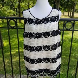 Ec! Stripe lace sleeves blouse